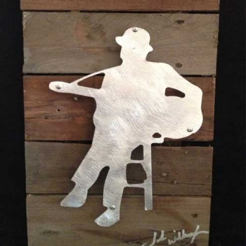 Bluesman 2 Metal & Reclaimed Wood Art