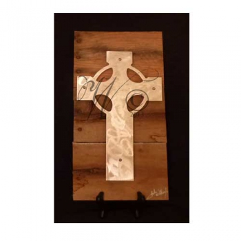 Celtic Cross Metal & Reclaimed Wood Art