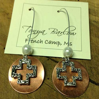 Copper Earrings with Open Cross