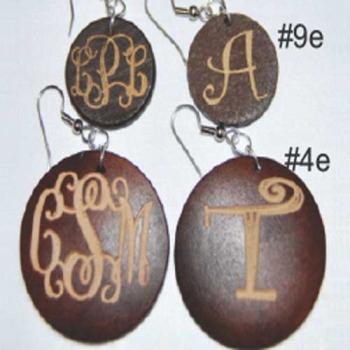Dark Wood Earrings Round
