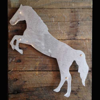 Horse Raring Metal & Reclaimed Wood Art