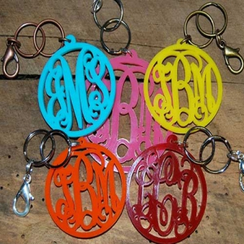 Keychain with Purse Clip in Acrylic Cut Out Style