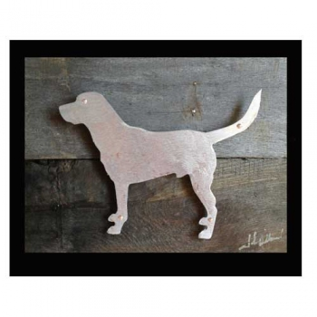 Lab Dog Metal & Reclaimed Wood Art