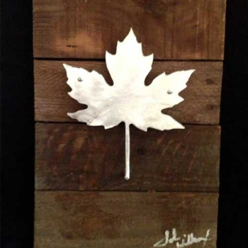 Maple Leaf Metal & Reclaimed Wood Art