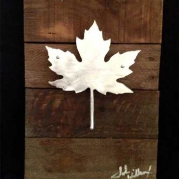 Maple Leaf Metal & Reclaimed Wood Art