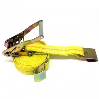 "Ratchet Tie Down Strap with Flat Hook, 2"", 27 ft., WLL 3300 lbs."