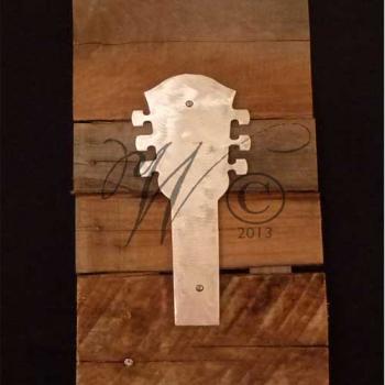 Short Neck Lucille Guitar Metal & Reclaimed Wood Art