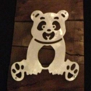 Teddy Bear Metal & Reclaimed Wood Art