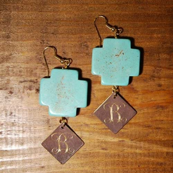 Turquoise Cross Earrings with Monogram Dangle