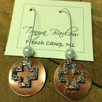 Copper Earrings with Open Cross